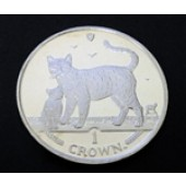 Bengal Cat w/ kitten - Isle of Man - 1 crown - 2003